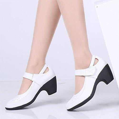 Zapatos De Baile Hembra Adulta De Mediana Edad Moderna Estrías De Primavera Y Verano Zapatos De Baile Zapatos De Baile Inferior Suave Blanco