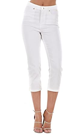 Ladies White Cropped Trousers Stretch Slim Summer 3/4 Jeans Crop ...