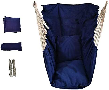YXX-ブランコ 2つのクッションが付いている大きい庭のハンモックの椅子 - 子供、男の子、子供のための屋外吊りツリースイング - 負荷200kg / 440lbs (Color : Blue)