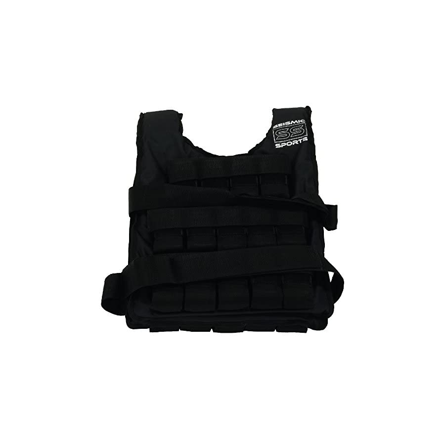 Seismic Sports SS50VBK Adjustable Weighted Vest 50 lb Black for Crossfit, HIIT, Strength, Cross Training and Cardio Exercise