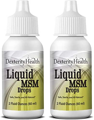 Dexterith Health Liquid MSM Eye Drops 2-Pack of 2 oz. Squeeze-Top Bottles, 100% Sterile, Vegan All-Natural and Non-GMO, Contains Organic MSM