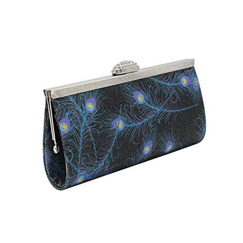 Style Abricot Imprimé Pochette Porte Main Avec monnaie Sac Esthétique Bleu Noir À Plume 00PqwOt