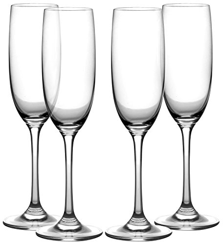 Amlong Crystal Lead Free Champagne Flutes Glasses, Normal Stem 4 piece (Flutes Champagne Logo)