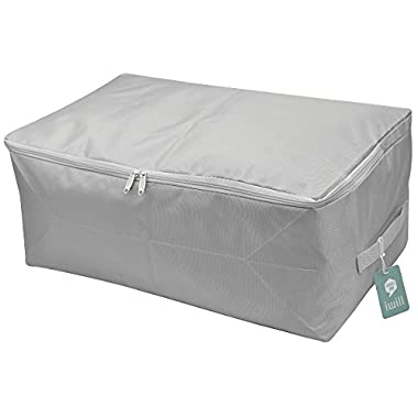Thick Oxford Fabric Clothes Storage Bag, Folding Organizer Bag for Comforters, Blanket, Clothes Storage. Waterproof, Dustproof, Moistureproof with Zipper and Handles (Light Grey, L)