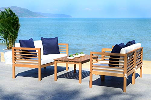 Safavieh PAT7033A Collection Alda Teak and White and Navy 4 Pc Accent Pillows Outdoor Set, Natural/Beige ()