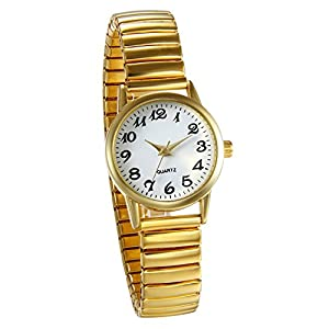 JewelryWe Women's Ultra Thin Easy Reader Watch with Elastic Strap, Golden