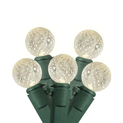 Jingle light 2 Pack LED Battery Diamond Globe String Lights Total 240 LED G12 String Lights Christmas Fairy LED Waterproof Lights for Party Home Patio Decoration (Warm White, Green Wire)