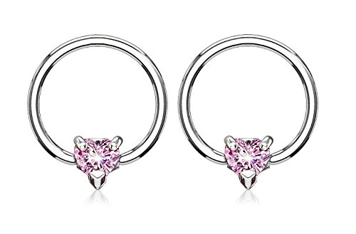 14GA CZ Crystal Heart Captive Bead Nipple Rings - Available in Multiple Colors (Silver Tone / Pink)
