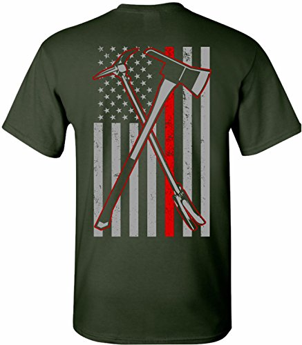 Patriot Apparel Axe Haligan 2 Hero Thin Red Line Firefighter T-Shirt (3X-Large, Forest Green) (Green Firefighter)