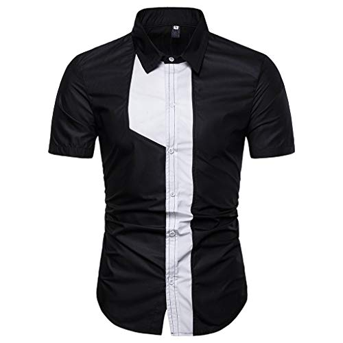 Rakkiss_Men Shirt Stripe Print Simple Tops Casual Fashion Pathwork Blouse Slim Fit Summer Clothes Black