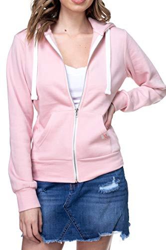 - Urban Look Womens Active Long Sleeve Fleece Zip Up Hoodie (Large, B1 Solid Blush Pink)