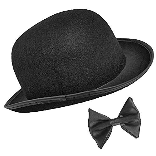 Dr Watson Black Derby and Bow Tie Set
