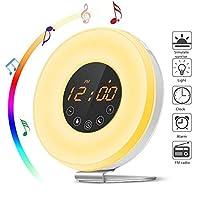 Wake-Up Light Wecker, Lionsoul Tageslichtwecker mit Sonnenaufgangfunktion, Digitales FM Radio, 6 natürlichen Wecktöne, 7 Farben LED Nachttischlampe Nachtlicht, (18 weiße Lichter + 18 Lichter)