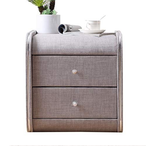 Jia He Nightstand Fabric Bedside Table -Nightstand Drawer Locker Decorative Display Cabinet Photo Table Double Drawer/Multiple Colors / 45 x 42 x 48cm @@ (Color : B)