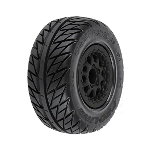 "Pro-Line Racing 1167-17 Street Fighter SC 2.2""/3.0"" Tires Mounted on Renegade Black Wheels"
