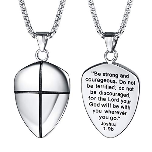 FaithHeart Shield of Faith Pendant Stainless Steel/18K Gold Plated Joshua 1:9 Cross Amulet Necklace with 22 Inches Chain (Silver)