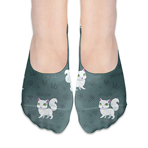 (Reewer Enchanting White Kitten Personalized Does Not Show Low-cut Invisible Thin Socks For Matching Women's Shoes Of Various Styles)