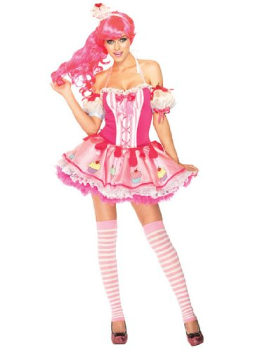 [Leg Avenue Women's 3 Piece Dress with Cupcake Arm Puffs, Pink, Medium/Large] (Pink Sexy Costumes)