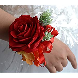 Abbie Home Red Rose Wrist Corsage for Prom Wedding Party Phalaenopsis Flower Wristbands Hand Flower 81
