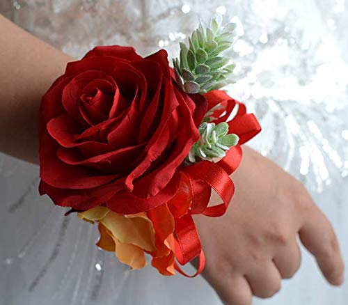 Abbie Home Red Rose Wrist Corsage for Prom Wedding Party Phalaenopsis Flower Wristbands Hand Flower (Phalaenopsis Corsage)