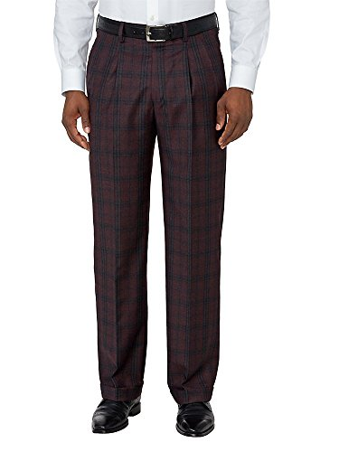 Plaid Wool Pants - Paul Fredrick Men's Wool Patterned Pleated Pants Wine Plaid 33