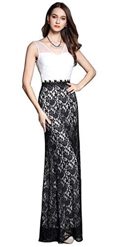 Merope J Womens Double V Neck Lace Full Length Sleeveless Wedding Dress(6,Black)