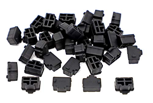iExcell 100 Pcs Black Ethernet Hub Port RJ45 Anti Dust Cover Cap Protector Plug