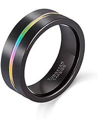 8mm Black Tungsten Carbide Ring Rainbow Anodized Wedding Engagemenrt Ring