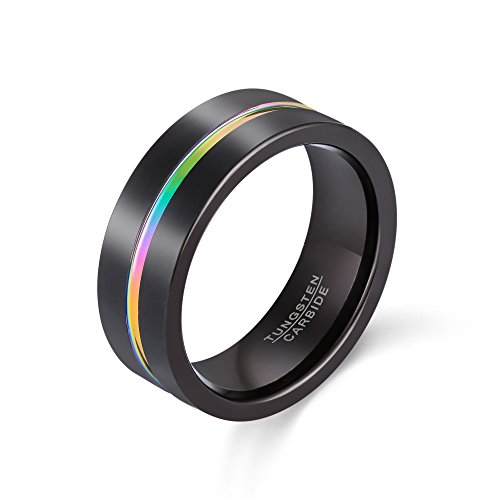 POYA Rainbow Tungsten Ring 8mm Black Plated Matte Finish Wedding Band Comfort Fit