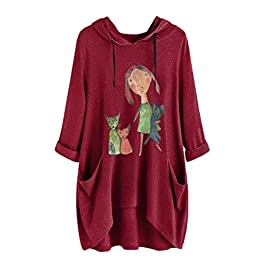 Gofodn Tops for Women Plus Size Hoodies Sweatshirt Jumper Pullover Long Sleeve 2020 New Selling Casual Cat Print Hooded Tunic Top Blouses …