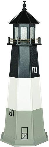 DutchCrafters Decorative Lighthouse – Wood, Oak Island Style Light Grey Black White, 3