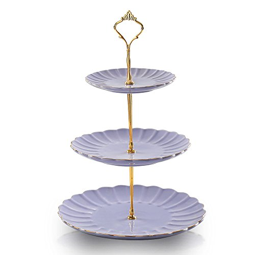 Pukka Home 3 tier ceramic cake stand wedding, dessert cupcake stand for tea party serving platter -