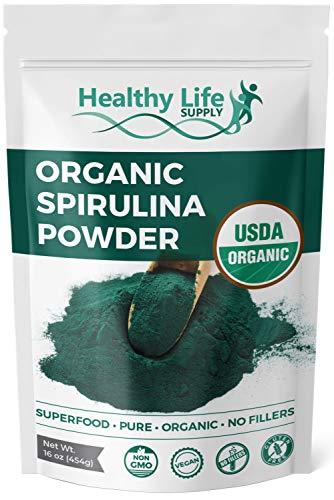Healthy Life Supply Organic Spirulina Powder - USDA Organic - Non GMO Pure Green Superfood - Rich in Vitamins, Minerals & Protein - Non-Irradiated, Vegan Smoothie Mix (16 oz) (Powder Chlorella Pure Foods)