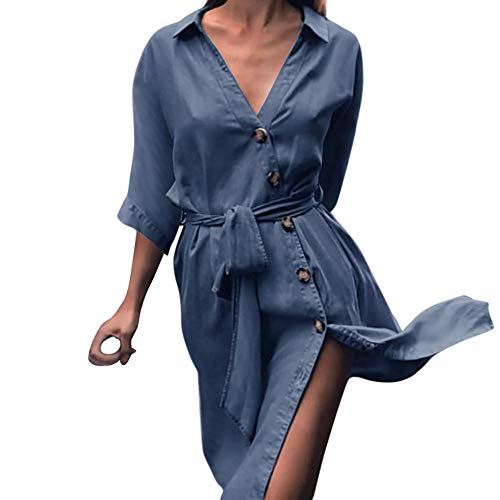 iHPH7 Women Sexy V-Neck Middle Sleeve Button Lace-Up Shift Bandage Cowboy Dress
