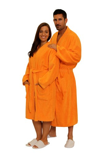 Terry Cloth Robe TowelRobes 100% Cotton Kimono Adult Unisex Bathrobe for Women and Men (Orange, O/S) (Orange Robe)