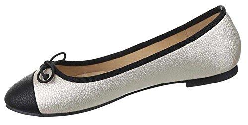 Damen-Schuhe Ballerinas | elegante Slipper mit Blockabsatz und Schleife in verschiedenen Farben und Größen | Schuhcity24 | Loafers in Lederoptik Gold