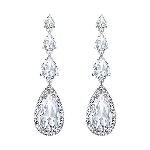 BriLove Wedding Bridal Dangle Earrings for Women Elegant Multi Teardrop Long Chandelier Earrings Clear ()