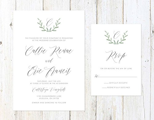Rosemary Wreath Wedding Invitation, Greenery Wedding Invitation, Simple Greenery Wedding Invitation by Alexa Nelson Prints