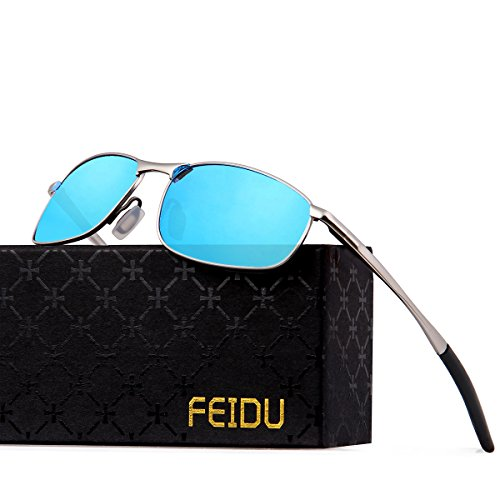 FEIDU Polarized Sport Mens Sunglasses HD Lens Metal Frame Driving Shades FD 9005 (Blue/Silver, 2.24)