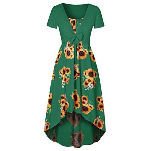 (Pongfunsy Women Dresses Womens Sleeveless Sunflower Printed Dress Ladies Bodycon Short Mini Dress Loose Party Dress (XL, Green))