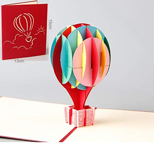 - Cards Invitations - 3d Pop Up Cards Colored Air Balloon Creative Gifts Postcard Birthday Valentine 39 S Day Greeting - Hot Balloon Receiver Cover Planet He Balloon Baby Party Stencil & Toy L