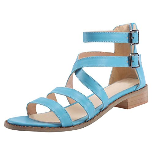 Claystyle Womens Flip Flop Strap Flat Sandals Criss Beach Shoes Open Toe Shoes (Blue,US:8.5)