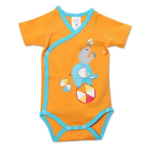 Zutano Unisex-Baby Newborn Showtime Screen Short Sleeve Wrap, Orange, 3 Months