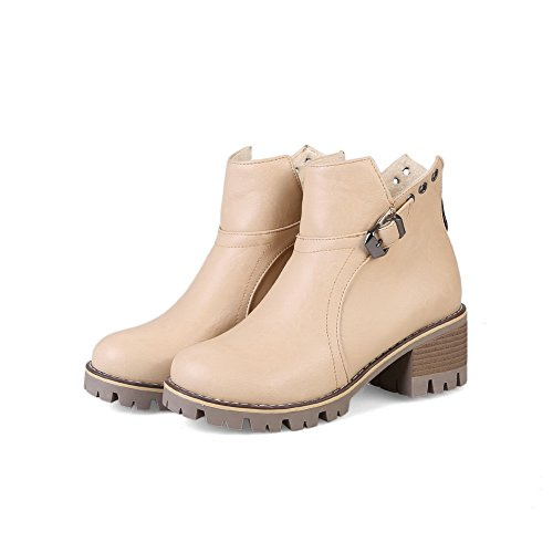 Hard Closure Closed Warm Waterproof Ground Lining Toe Toe Boots No Beige Womens Boots Round Kitten MNS02460 1TO9 Road Bootie Heel Urethane nqBw1SxA