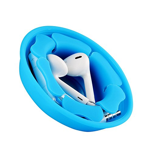 Earbud Holder Cord Wrapper Organizer, MAIRUI Tangle Free Silicone Magnetic Earphone Winder Carrying Case (Blue)