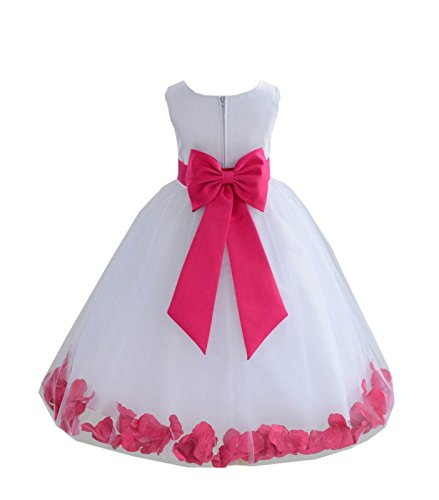 ekidsbridal White Tulle Rose Petals Flower Girl Dress Tulle Dress Christening Dress 302T 4 -