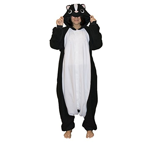 Skunk Kigurumi - Adult Costume, Black & (Halloween Skunk Costume)