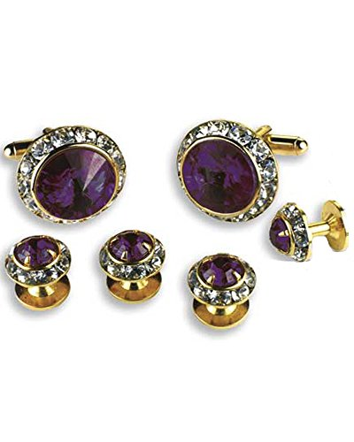 Crystal Cufflinks and Studs with Amethyst Center