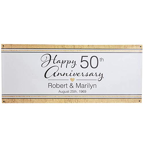 (Fox Valley Traders Personalized Anniversary Party Banner, Traditional Design, Premium 13 oz. Indoor/Outdoor Vinyl Sign with Brass Grommets, Deluxe Size 30