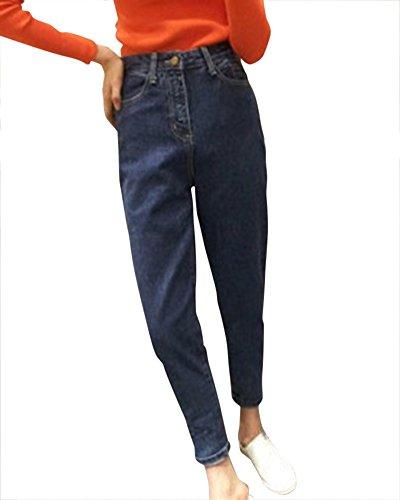 Haute Taille Femme lastique Amincissant Bleu Moulant Slim Jeans Droit Pantalons Mengmiao Fonc 54Zqdw5